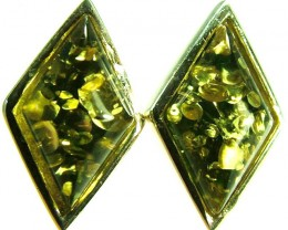 GREEN AMBER EARRINGS -POLAND 10.85 CTS [SJ509]