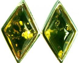 GREEN AMBER EARRINGS -POLAND 10.65 CTS [SJ510]