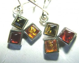 AMBER SILVER EARRINGS  12.26CTS  SG-2108