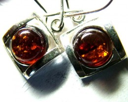 AMBER SILVER EARRINGS  18.25  CTS  SG-2107