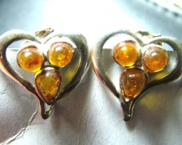 AMBER SILVER EARRINGS 15.6CTS  SG-2106