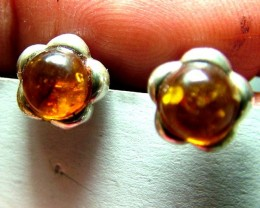 AMBER  SILVER EARRINGS  9.58  CTS SG-2101