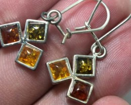 AMBER  SILVER EARRING  TRI COLOUR 12.12  CTS  SG-2099