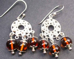 BALTIC AMBER EARRINGS SILVER 26.40 CTS [SJ1412]