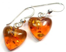 BALTIC AMBER EARRINGS SILVER 7.65 CTS [SJ1418]