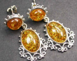 BALTIC AMBER EARRINGS SILVER 31.45 CTS [SJ1407]