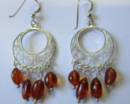 23Cts Amber Silver  Earring Sheppard Hook  AGR669