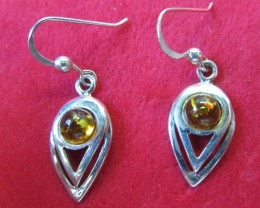 18.6 Cts Amber Silver  Earring Sheppard Hook  AGR68