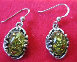 30Cts Amber Silver  Earring Sheppard Hook  AGR686