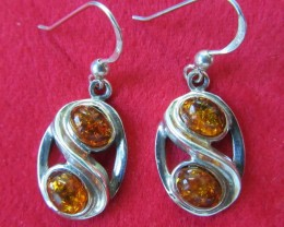 27 Cts Amber Silver  Earring Sheppard Hook  AGR682