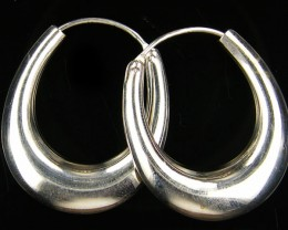 MODERN 32x28 MM  LOOP STERLING SILVER  EARRING MYT 530
