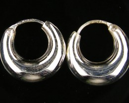 MODERN SMALL 15 MM  LOOP STERLING SILVER  EARRING MYT 532
