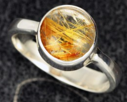 RUTILATED QUARTZ SILVER RING SZE 9 [SJ2103]SH