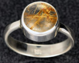 RUTILATED QUARTZ SILVER RING SZE 8 -FACTORY DIRECT  [SJ2114]