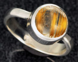 RUTILATED QUARTZ SILVER RING SZE 8 -FACTORY DIRECT [SJ2115]