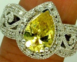 YELLOW QUARTZ  SILVER RING    37.30CTS  SIZE-7.50    RJ-639