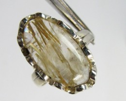 RUTILATED  QUARTZ SILVER RING SIZE  7.5  GG 1021