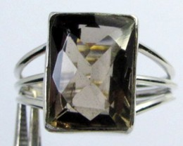 FACETED SMOKEY QUARTZ SILVER RING SIZE 10.5  GG 1030