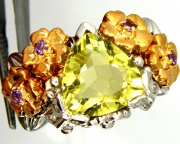 LEMON QUARTZ SILVER RING  53.85 CTS  SIZE-9.5    RJ-260