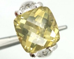 LEMON QUARTZ SILVER RING   42.75 CTS  SIZE-10.25    RJ-351