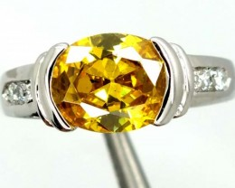 YELLOW QUARTZ  SILVER RING  20.5 CTS  SIZE-7.75    RJ-373