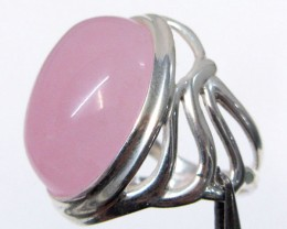 CAB  ROSE QUARTZ  RING SIZE   8   MJA 340