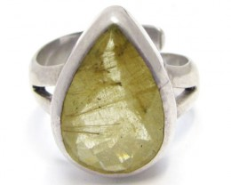 Rutilated Quartz gemstone Ring  adjustable size  MJA 712