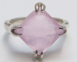 Rose  Quartz  set in Silver Ring  size 7   MJA 713A