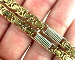 62.8 grams 9k Solid Gold Chain 62.80 GRMAS 2 TONE DESIGN L227