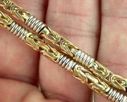 38.9 Grams 9k Solid Gold Chain 38.9 GRAMS 2 TONE DESIGN L226