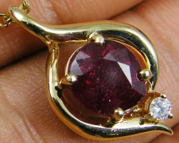 NATURAL RUBY 14K YELLOW GOLD PENDANT  MYT 799