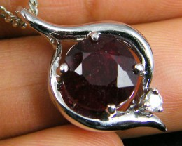 NATURAL RUBY 14K WHITE GOLD PENDANT  MYT 802
