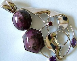 STAR RUBY SILVER PENDANT +3 NATURAL STONES 83 CTS [GT1309 ]