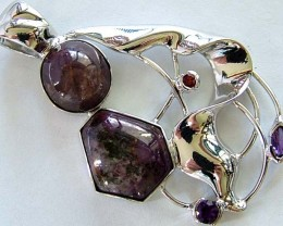 STAR RUBY SILVER PENDANT +3 NATURAL STONES 79 CTS [GT1312 ]