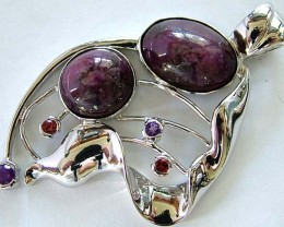 STAR RUBY SILVER PENDANT +3 NATURAL STONES 87 CTS [GT1314 ]