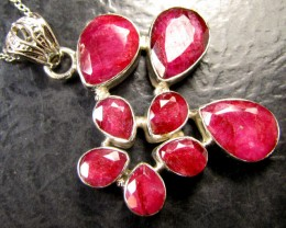HUGE CLUSTER AFRICAN RUBY 925 SILVER PENDANT RT169