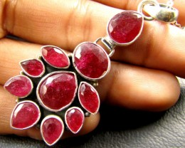 CLUSTER AFRICAN RUBY 925 SILVER PENDANT RT170