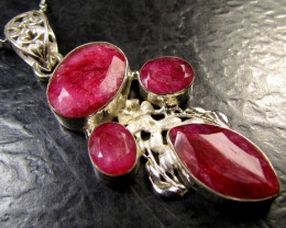 free shipping CLUSTER AFRICAN RUBY 925 SILVER PENDANT RT173