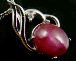 NATURAL RUBY 14K WHITE GOLD PENDANT  MYT 786