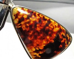45.39 CTS INDONESIAN AMBER PENDANT -SILVER [SJ4477]