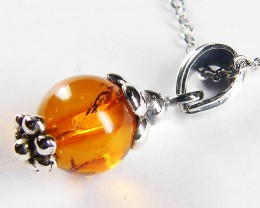 BALTIC HONEY  AMBER  BEAD  SILVER   PENDANT  12TCW   MYG 936