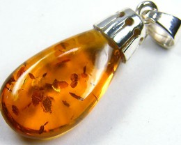 BALTIC HONEY  AMBER  DROP  SILVER   PENDANT 10 TCW   MYG 941