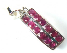 RED RUBY 925 STERLING SILVER PENDANT RJ-194