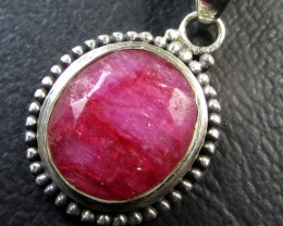 21.9 TCW CTS AFRICAN RUBY SILVER PENDANT GG 764