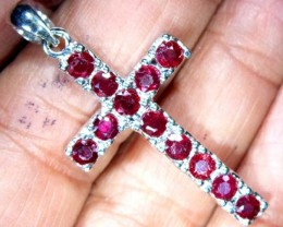 RUBY SILVER CROSS PENDANT 14.9  CTS  TBJ-528