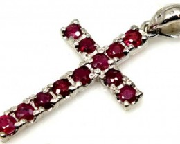 RUBY SILVER CROSS PENDANT 15 CTS  TBJ-715