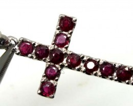 RUBY SILVER CROSS PENDANT 15 CTS  TBJ-714