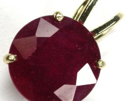 8 mm RUBY 10K  YELLOW GOLD   PENDANT     GTJA 221