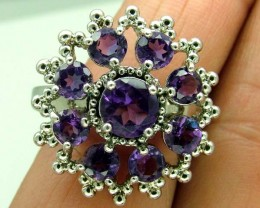 AMETHYST  SILVER RING   30 CTS  SIZE-10.25    RJ-224
