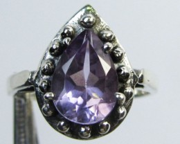 FACETED AMETHYST STYLISH SILVER RING SIZE 7.5   GG1035